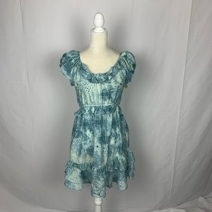 Juicy Couture Silk Ruffle Watercolor Print Dress